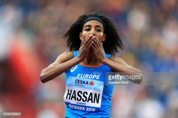 Sifan Hassan celebrates victory following the Womens 3000 Metres during day one of the IAAF Continental Cup at Mestsky Stadium on September 8, 2018...