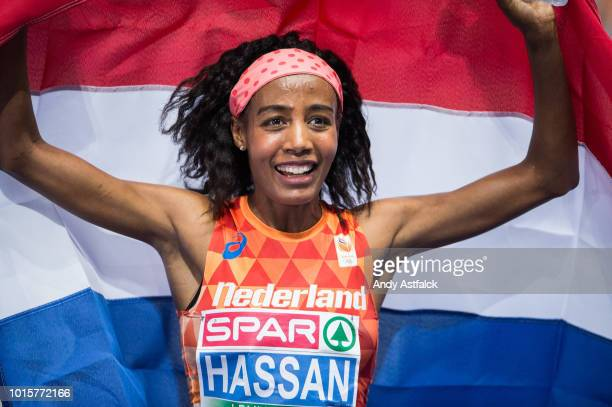 Sifan Hassan from the Netherlands celebrates winning the Women's 5000m Final on day six of the 24th European Athletics Championships at...