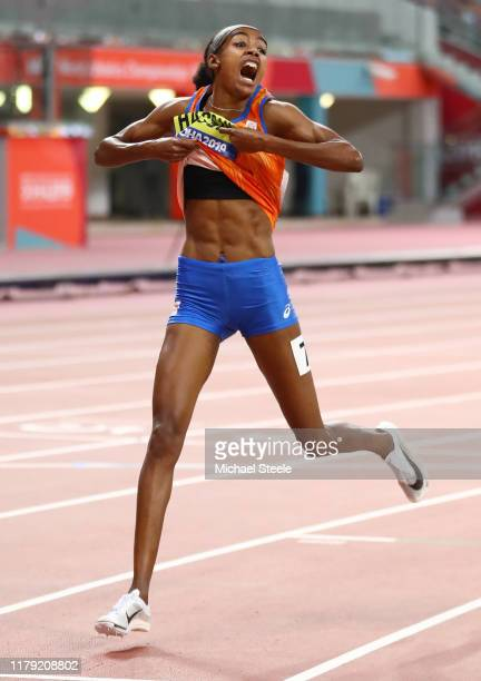 Sifan Hassan of Netherlands celebrates wining gold in the Women's 1500 Metres final during day nine of 17th IAAF World Athletics Championships Doha...