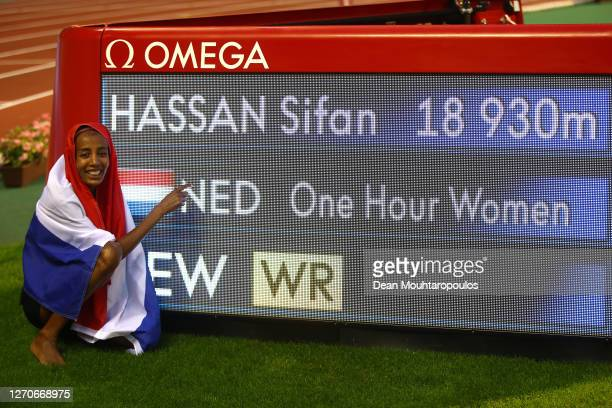 Sifan Hassan of Netherlands celebrates winning the One Hour Woman competition with a new world record during the Memorial Van Damme Brussels 2020...