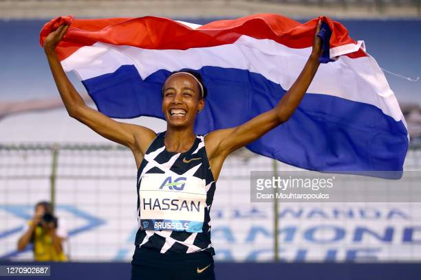 Sifan Hassan of Netherlands celebrates winning the One Hour Woman competition with a World Record during the Memorial Van Damme Brussels 2020 Diamond...
