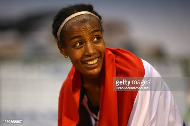 Sifan Hassan of Netherlands celebrates winning the One Hour Woman competition during the Memorial Van Damme Brussels 2020 Diamond League meeting at...
