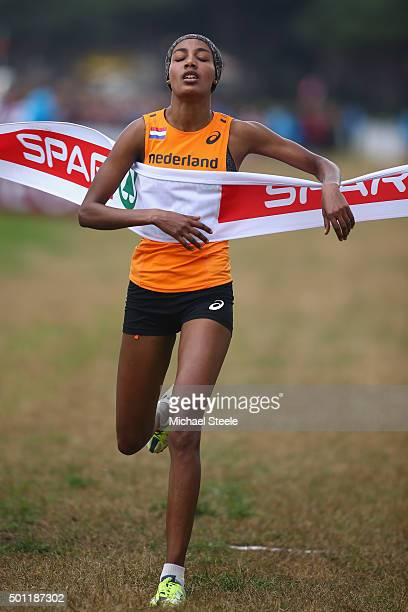 Sifan Hassan of Netherlands crosses the line to win gold in the women's senior race during the Spar European Cross Country Championships on December...