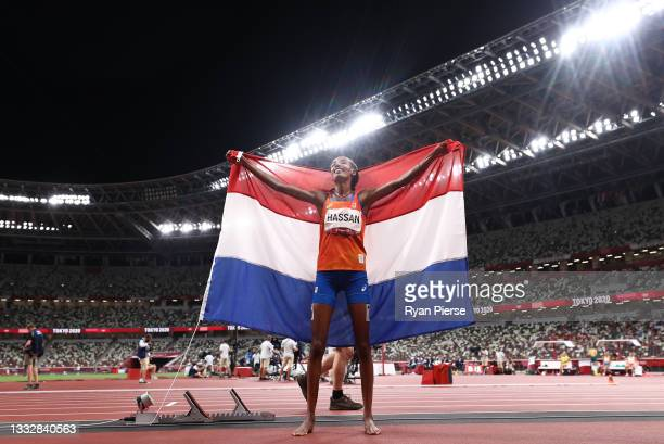 Sifan Hassan of Team Netherlands celebrates after winning the gold medal in the Women's 10,000m Final on day fifteen of the Tokyo 2020 Olympic Games...