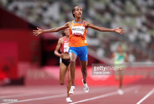 Sifan Hassan of Team Netherlands celebrates as she wins the gold medal in the Women's 10,000m Final on day fifteen of the Tokyo 2020 Olympic Games at...