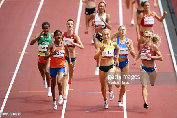 Sifan Hassan of Team Netherlands, Jessica Hull of Team Australia and Elinor Purrier St. Pierre of Team United States compete in round one of the...