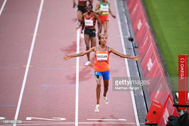 Sifan Hassan of Team Netherlands reacts as she wins the gold medal in the Women's 5000 metres Final on day ten of the Tokyo 2020 Olympic Games at...