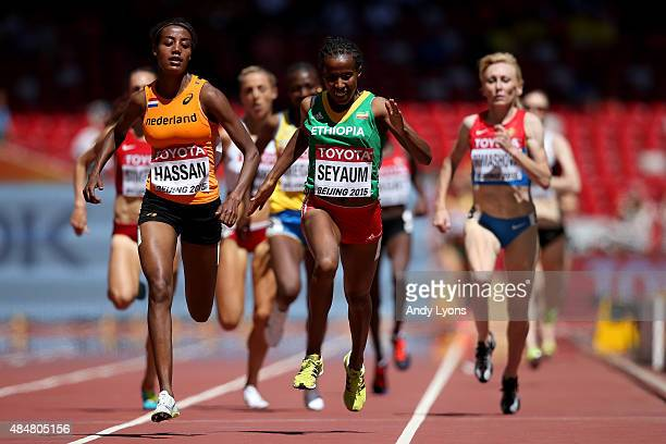 Sifan Hassan of the Netherlands and Dawit Seyaum of Ethiopia compete in the Women's 1500 metres heats during day one of the 15th IAAF World Athletics...