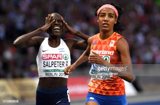 Sifan Hassan of the Netherlands and Lonah Chemtai Salpeter of Israel compete in the Women's 5000m Final during day six of the 24th European Athletics...