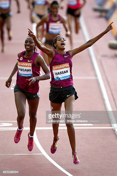 Sifan Hassan of the Netherlands celebrates after winning the Women's 1500m during the IAAF Diamond League Day 1 at Hampden Park on July 11, 2014 in...