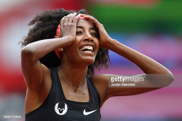 Sifan Hassan of the Netherlands celebrates victory following the Women's 1 Mile during Day Two of the Muller Anniversary Games at London Stadium on...