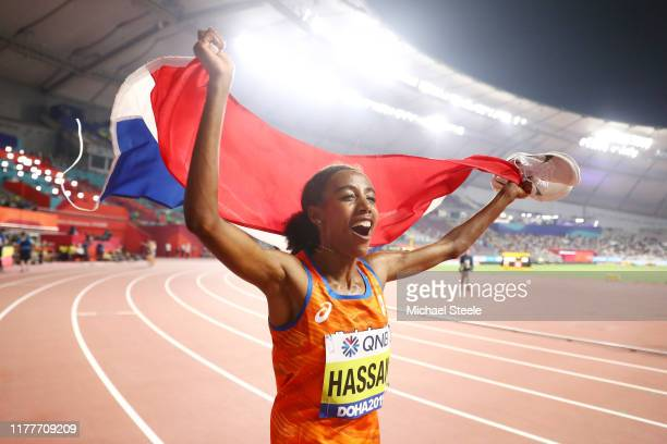Sifan Hassan of the Netherlands celebrates winning gold in the Women's 10,000 Metres final during day two of 17th IAAF World Athletics Championships...
