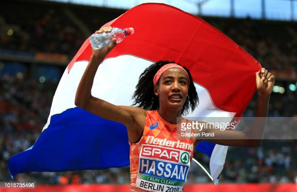 Sifan Hassan of the Netherlands celebrates winning the gold medal in the Women's 5,000m Final during day six of the 24th European Athletics...