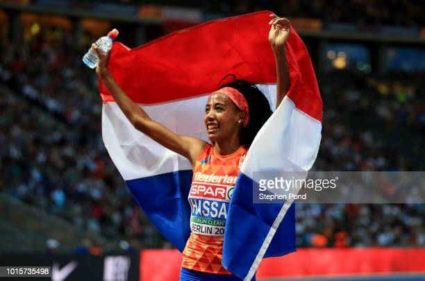 Sifan Hassan of the Netherlands celebrates winning the gold medal in the Women's 5000m Final during day six of the 24th European Athletics...