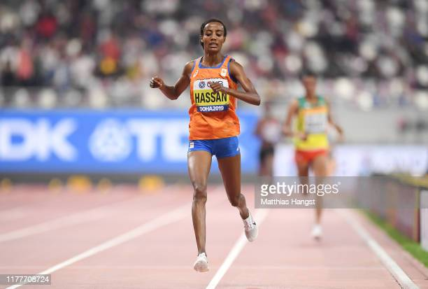 Sifan Hassan of the Netherlands competes in the Women's 10,000 Metres final during day two of 17th IAAF World Athletics Championships Doha 2019 at...