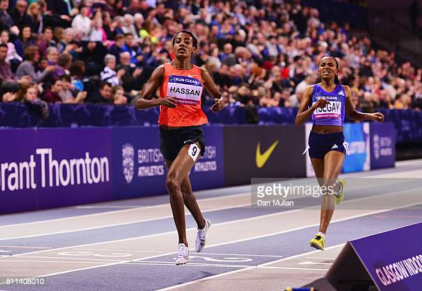 Sifan Hassan of the Netherlands crosses the line ahead of Gudaf Tsegay of Ethiopia to win the the Women's 1500 metres final during the Glasgow Indoor...
