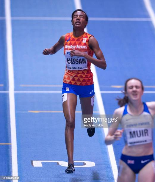 Sifan Hassan of the Netherlands crosses the line in third position during the Women's 1500m Final on Day 3 of the IAAF World Indoor Championships at...