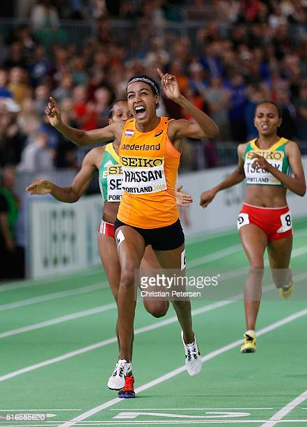 Sifan Hassan of the Netherlands crosses the line to win gold in the Women's 1500 Metres Final during day three of the IAAF World Indoor Championships...