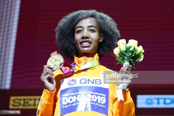 Sifan Hassan of the Netherlands, gold, poses during the medal ceremony for Women's 10,000 Metres during day three of 17th IAAF World Athletics...