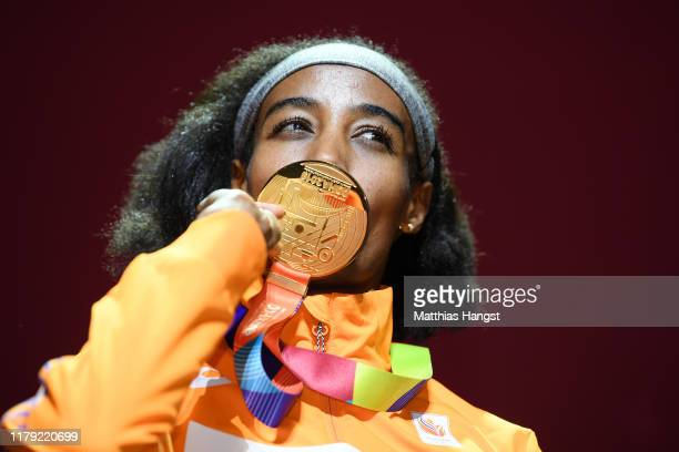 Sifan Hassan of the Netherlands, gold, poses during the medal ceremony for the Women's 1500 Metres during day nine of 17th IAAF World Athletics...