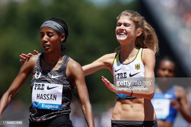 Sifan Hassan of the Netherlands is congratulated by Konstanze Klosterhalfen of Germany after winning the women's 3000m during the Prefontaine Classic...