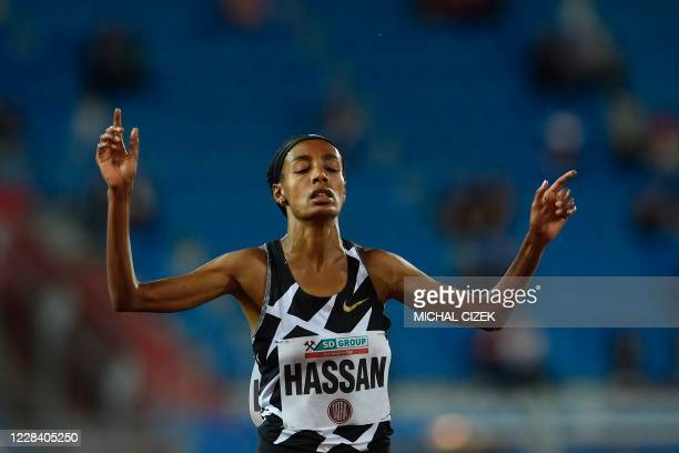 Sifan Hassan of The Netherlands reacts as she wins the Women's 5000m of IAAF Golden Spike 2020 Athletics meeting in Ostrava, Czech Republic, on...