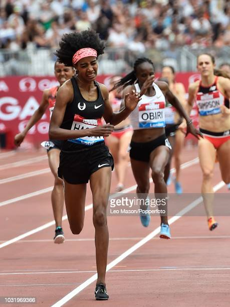 Sifan Hassan of the Netherlands wins the Millicent Fawcett One Mile race during the IAAF Diamond League Muller Anniversary Games at The Queen...