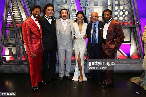 Sifiso Mazibuko, Charl Brown, Smokey Robinson, Lucy St Louis, Berry Gordy, founder of the Motown record label, Cedric Neal pose backstage following...