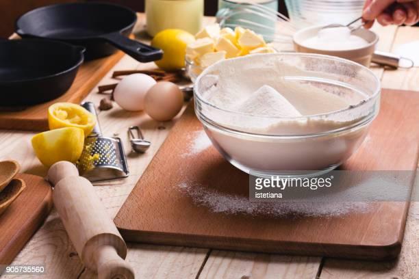Sifting flour