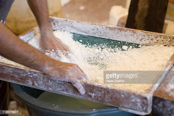 Sifting tapioca flour