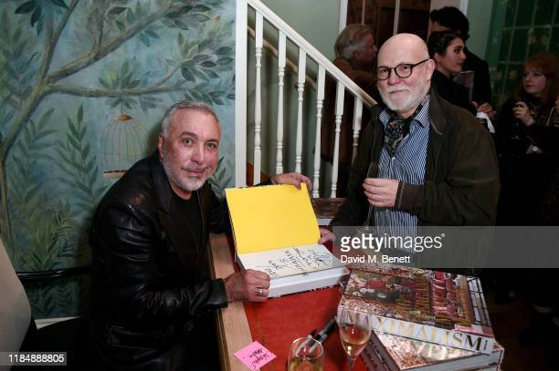 Sig Bergamin and a guest attend the book signing cocktail party celebrating Brazilian designer, Sig Bergamin, hosted by De Gournay and Assouline, on...