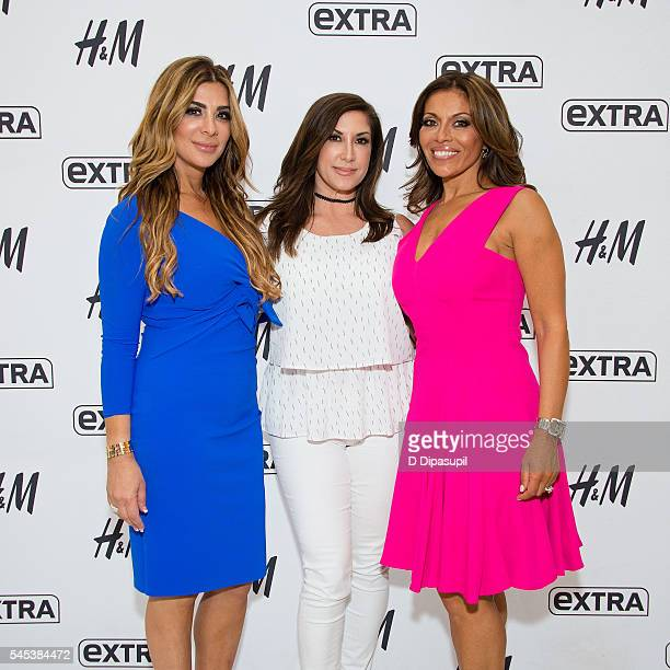 Siggy Flicker Jacqueline Laurita and Dolores Catania visit Extra at their New York studios at HM in Times Square on July 7 2016 in New York City