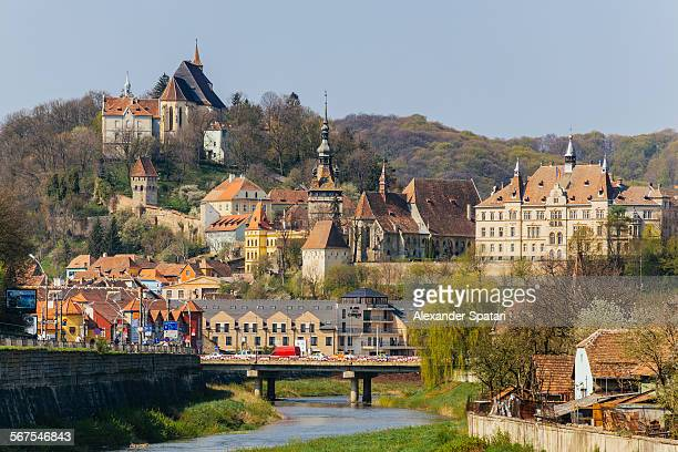 sighisoara townscape, transylvania, romania - fortified wall stock photos and pictures