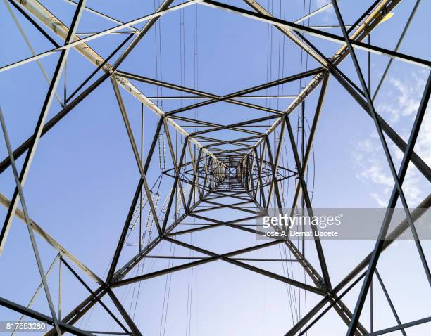 Sight from the interior of a great electrical tower of high tension
