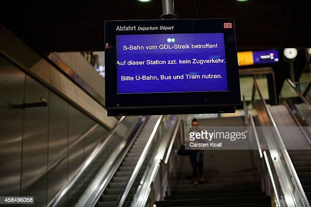 A sight informs about closed SBahn line during the strike at Hauptbahnhof main railway station during a fourday strike by the GDL train drivers labor...