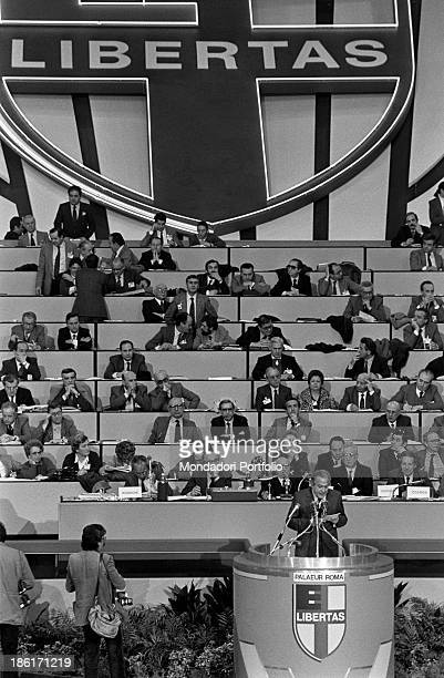Sight of the bleachers with the benches for the delegates of the Christian Democracy among whom are the very leaders of the party sitting and...
