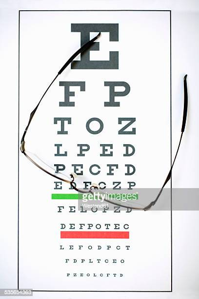 Sight test chart and glasses