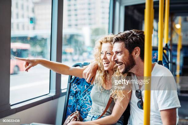 sightseeing and city visit from the bus - public transport stock pictures, royalty-free photos & images