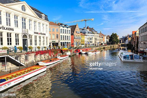 Sightseeing boat  on the river Lye in Gent, Belgium