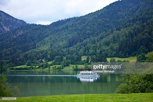 Sightseeing boat on the Schliersee in the mountain