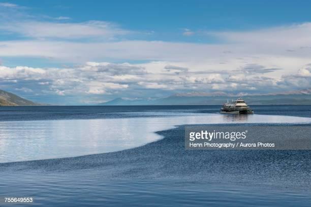 Sightseeing boat returning to Ushuaia Port Argentina