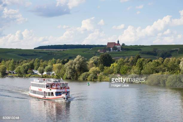 Sightseeing excursion boat Undine on Main river and Maria im Weingarten pilgrimage church
