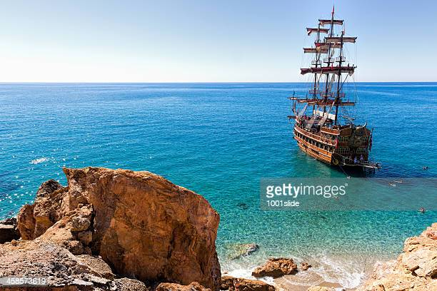 sightseeing ship - pirate ship stock photos and pictures