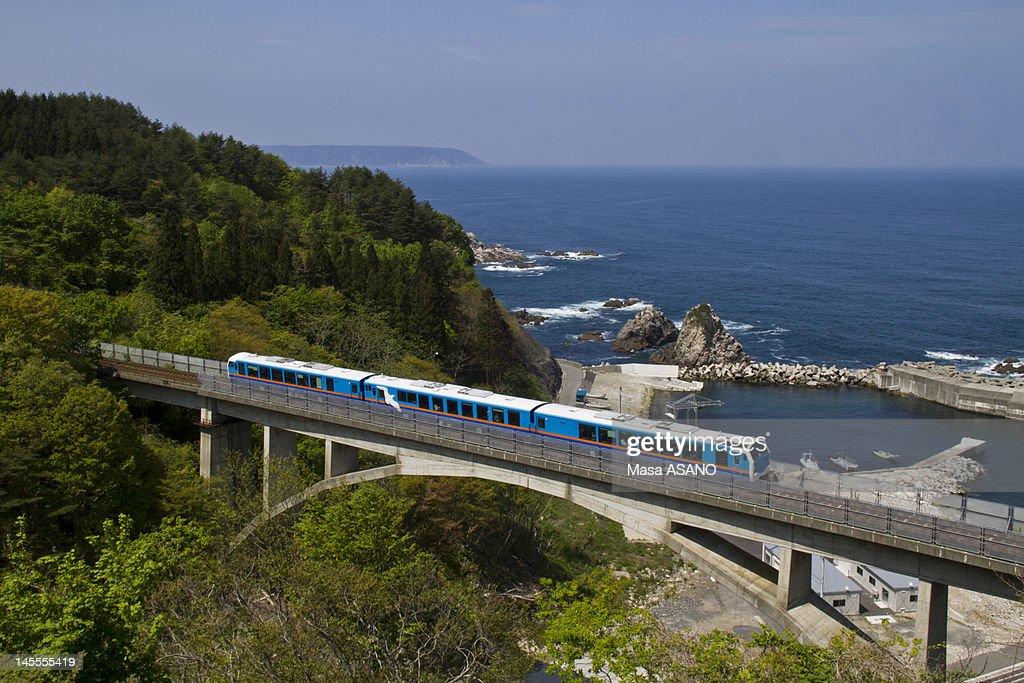 Sightseeing train on bridge : Stock Photo