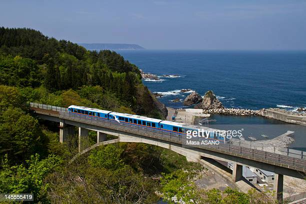 sightseeing train on bridge - iwate prefecture stock photos and pictures