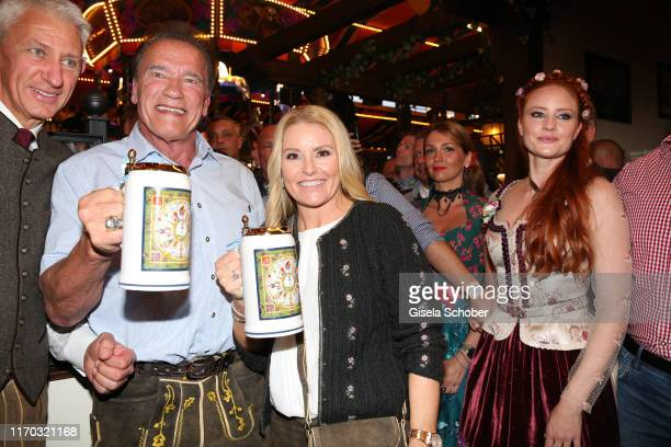 Sigi Able Arnold Schwarzenegger and his girlfriend Heather Milligan Barbara Hallmann Meier during the Oktoberfest 2019 at Theresienwiese on September...