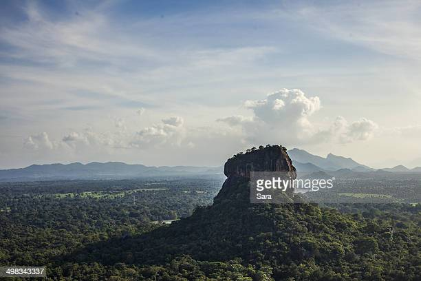 sigiriya from pidurangala rock temple - sigiriya stock photos and pictures