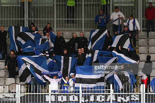 Sigma Olomouc supporters during the Czech First League match between FK Jablonec and SK Sigma Olomouc held on May 26, 2013 at the Chance Arena in...