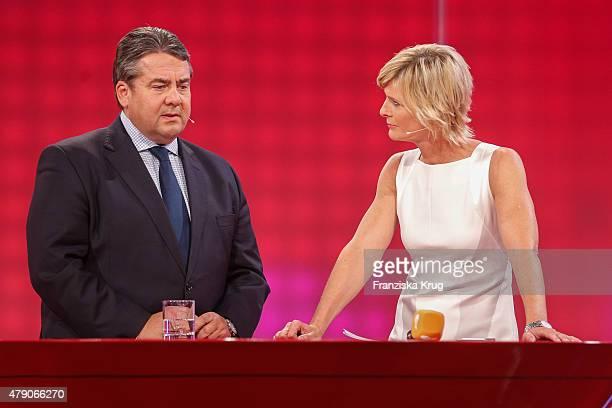 Sigmar Gabriel and Barbara Hahlweg attend the Deutscher Gruenderpreis 2015 on June 30, 2015 in Berlin, Germany.