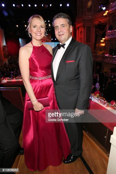 Sigmar Gabriel and his wife Anke Stadler during the Semper Opera Ball 2018 at Semperoper on January 26 2018 in Dresden Germany